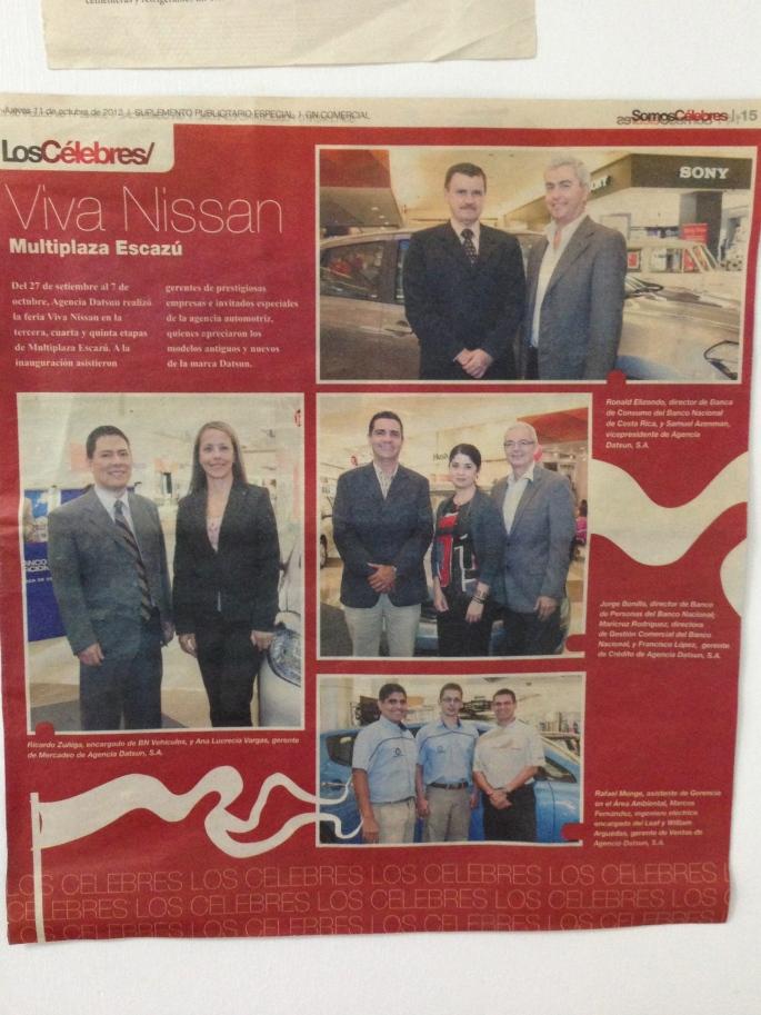 En el suplemento Somos Célebres de La Nación hicieron una publicación sobre el Tour Viva Nissan realizado en Multiplaza de Escazú.