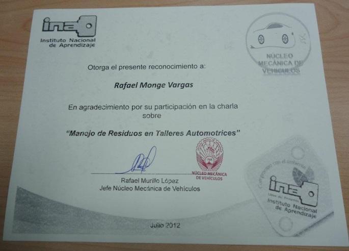 Certificado de reconocimiento del INA por apoyarlos con una charla sobre gestión de residuos en talleres.